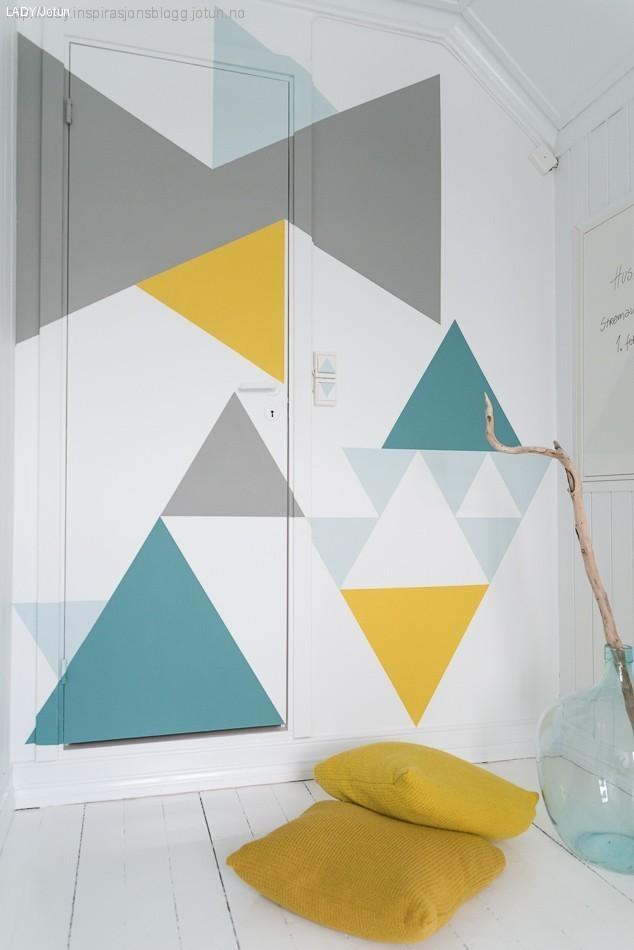 DIY: Geometrisk vegg i vårens farger'