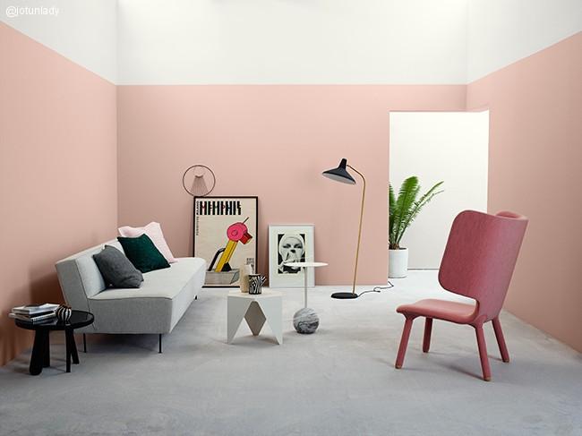 Del opp veggen ved hjelp av ulike farger