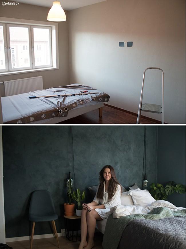 Før og etter de malte med kalkmaling i fargen 5030 St Pauls Blue