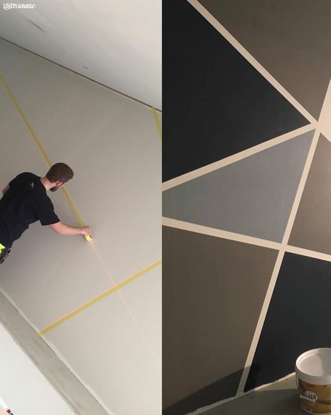 Dela av väggen med färg