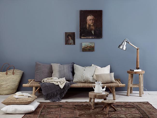 Blå farger på veggene