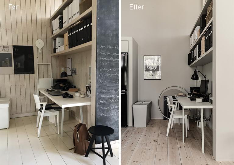 Kirstens kontor - før og etter oppussing