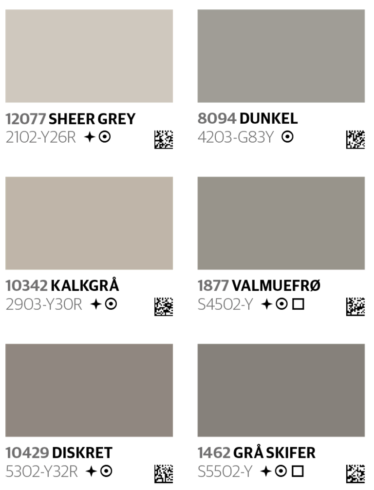 Merking av malingprodukter i fargekart