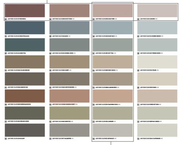 LADY kulörkarta med färgprover som visar ton-i-ton och vackra kontraster