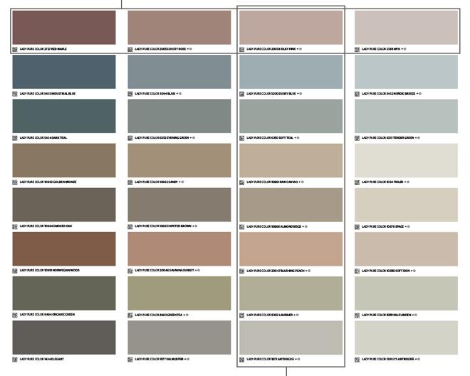 LADY färgkarta med färgprover som visar ton-i-ton och vackra kontraster
